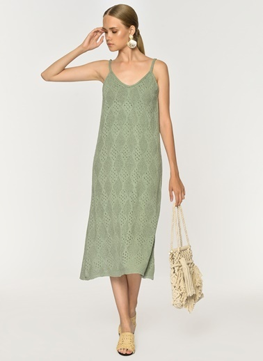 Loves You Ajurlu Astarlı Triko Elbise Yeşil